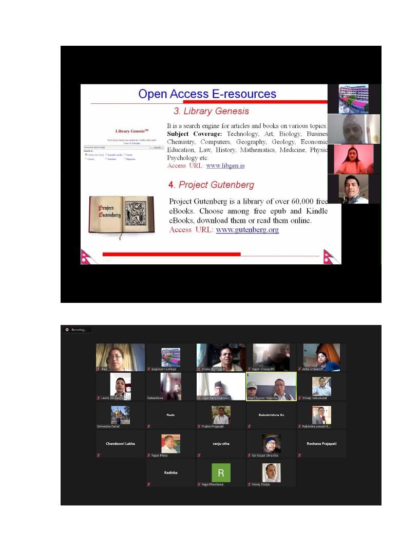 अनलाइन लाइब्रेरी स्रोतको प्रयोगबारे जुम बैठक